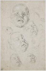 Studies van het hoofd en de handjes van een baby