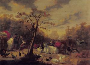 Landschap met het inschepen der dieren in Noachs ark