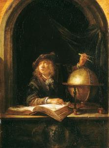 Astronoom in een venster