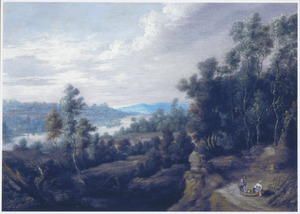 Bebost heuvellandschap met rustende boeren
