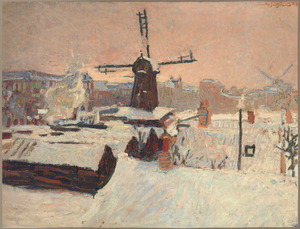 Stadsgezicht Amsterdam met houtzaagmolen en de bouwplaats aan de Admiraal de Ruyterweg, in de winter