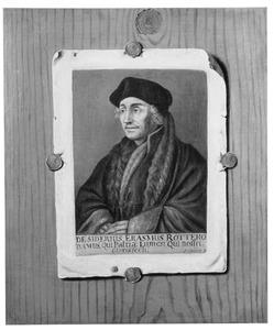 Trompe l'oeil van een prent met het portret van Desiderius Erasmus (1466-1536) op een houten wand