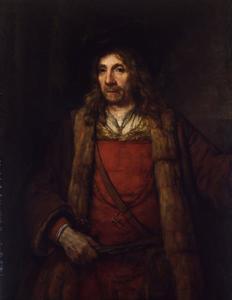 Heupstuk van een man met baret en met bontgevoerde tabberd