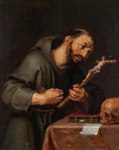 De H. Franciscus de crucifix aanbiddend