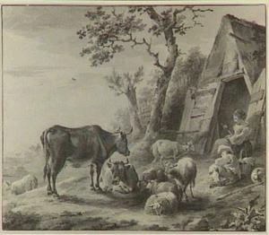 Herderspaar met vee bij een schuur