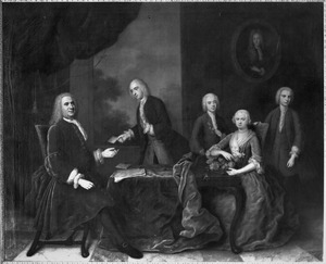 Portret van Mattheus de Neufville (1686-1743) en Petronella de Neufville (1688-1749) en de kinderen uit haar eerste huwelijk met Jacob van Lennep (1686-1725)
