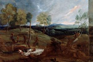 Heuvellandschap met schaapherder en zijn kudde