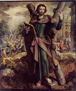 De H. Andreas, in de achtergrond zijn martelaarschap