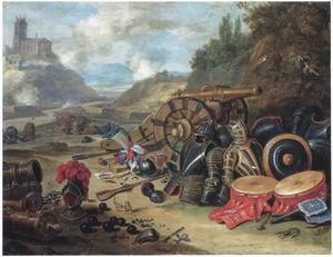 Allegorie op de oorlog; stilleven met wapentuig in een landschap