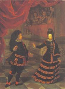 Keurvorst Johann Wilhelm van de Palts en keurvorstin Anna Maria Luisa de' Medici in Spaans kostuum op een hofbal
