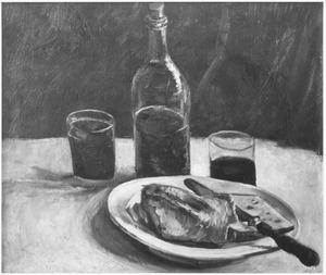 Stilleven: een fles, twee glazen en een bord met brood