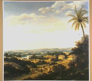 Braziliaans landschap met dorp aan een rivier