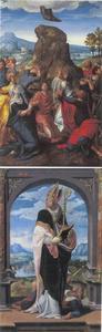 De Hemelvaart (binnenzijde); de H. Eucherius (buitenzijde)