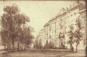 Het Lange Voorhout met de Koninklijke Bibliotheek, te 's-Gravenhage