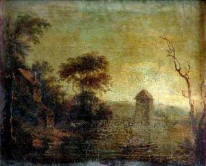 Landschap met toren