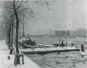 Gezicht op de Amstel in de sneeuw