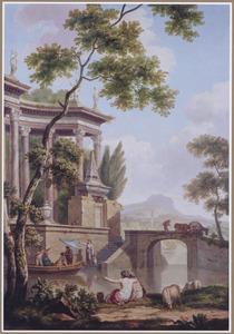 Zuidelijk rivierlandschap met spelevarende figuren bij een monument