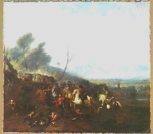 Ruitergevecht op een landweg; in de verte een dorp
