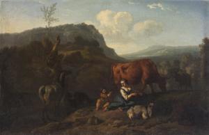 Berglandschap met een herderin met koeien