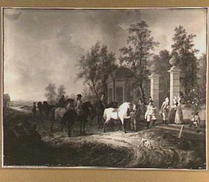 Ruiters voor het hek van een landgoed