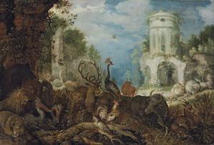Landschap met dieren en een ruïne