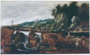 Heuvellandschap met ruiters bij een brug