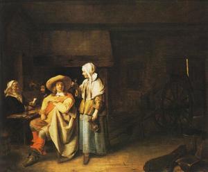 Herberginterieur met een soldaat, een dienstmeid en kaartspelers
