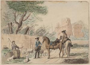 Twee soldaten in gesprek met een herderin