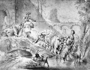 Herder en herderin, hun vee door een ruine voerend