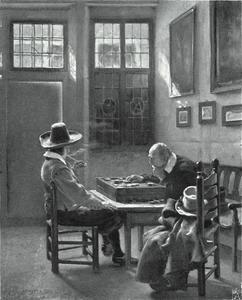 Damspelers in een interieur