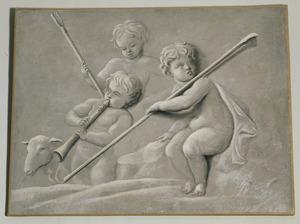 Drie putti verbeeldende een pastorale scène