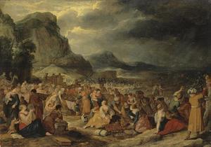 Mozes sluit de wateren over farao en zijn leger na de veilige doortocht door de Rode Zee  van de Israelieten (Exodus 14:21)