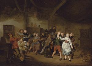 Vrolijk musicerend en dansend gezelschap in een herberg