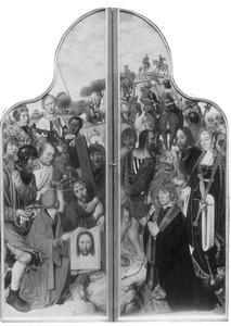 De kruisdraging met de H. Veronica (links); Portret van Aelbrecht Adriaensz. van Adrichem (....-1555) met de H. Catharina en de H. Bavo (rechts)