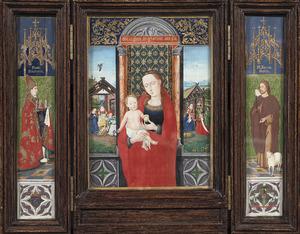 De H. Johannes de Doper (linkerluik), Maria en Kind, de geboorte en de aanbidding (middenpaneel), de H. Donaas (rechterluik)