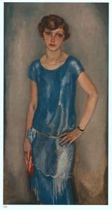 Dame in blauwe jurk