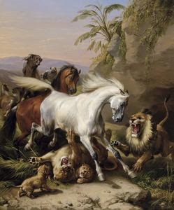 Oriëntaals landschap met Arabische paarden en leeuwen