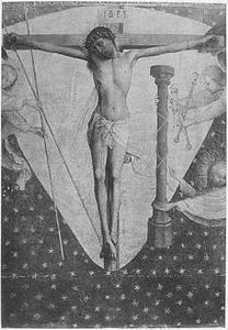 De gekruisigde Christus omringd door engelen met de Arma Christi