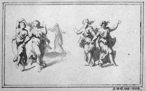 Dansende vrouwen in klassiek gewaad