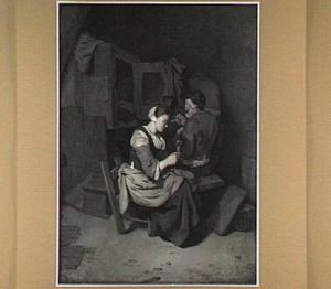Drinkende vrouw en rokende man bij een bedstee