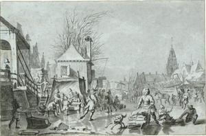 IJsvermaak in een Hollandse stad