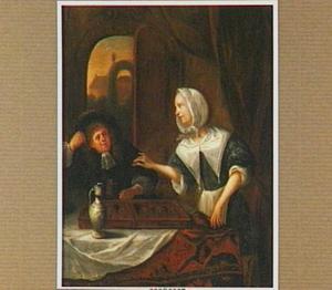 Elegant paar, triktrak spelend in een interieur