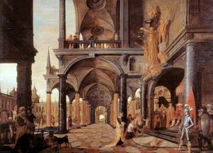 Fantasiepaleis met het oordeel van Salomo (1 Koningen 3:16-28)