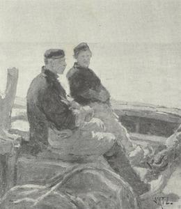 Twee vissers op zee