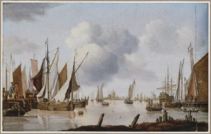 Zeilschepen op een rivier voor een Hollandse stad