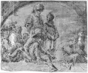 Staande en zittende figuren bij een balustrade