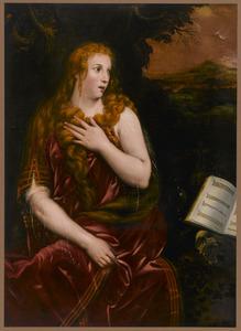 De boetvaardige Maria Magdalena in een avondlandschap