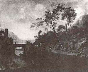 Italiaans heuvellandschap met wagen, voortgetrokken door ossen