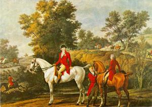 De Hertog van Orléans en de Hertog van Chartres bij het begin van een jacht in 1787