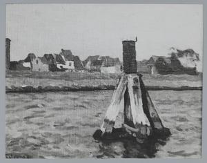 Dukdalf met stad op de achtergrond